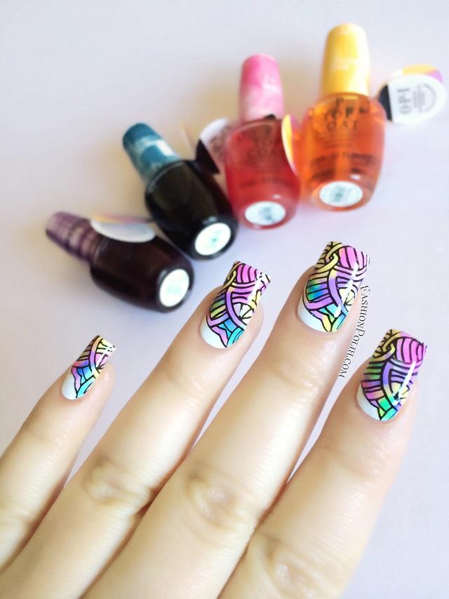 Fashion Polish: OPI Sheer Tints Nail Art : leadlight stamping!