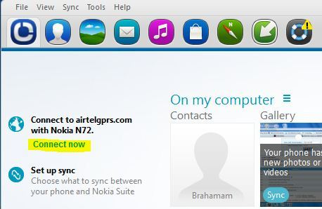Nokia  pc sute - connet to internet