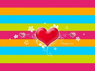 Corazón con fondo de lineas de colores
