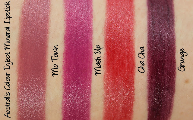 Australis Colour Inject Mineral Lipsticks - Mo Town, Mash Up, Cha Cha and Grunge Swatches & Review