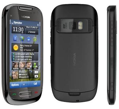 Imagenes del Nokia C7 Frontal, trasera y Lateral