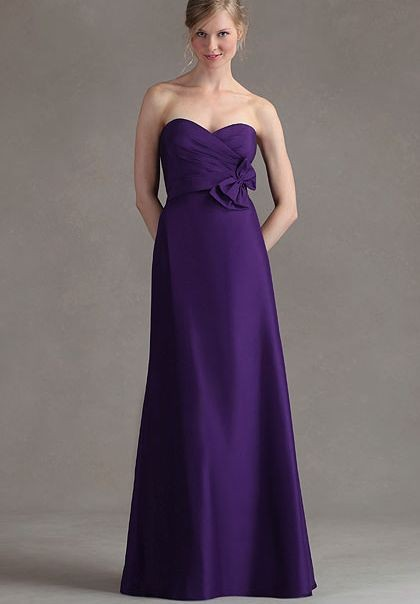beautiful purple Satin Strapless Sweetheart A-Line Long Bridesmaid Dress