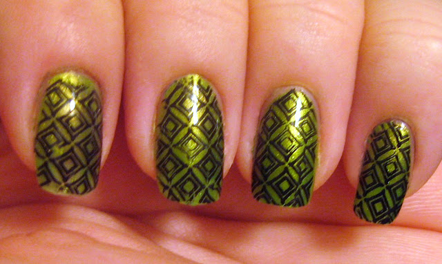 "Green Geometry Nails"" title="
