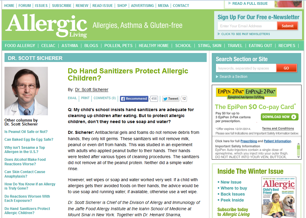http://allergicliving.com/index.php/2013/09/03/do-hand-sanitizers-protect-allergic-children/
