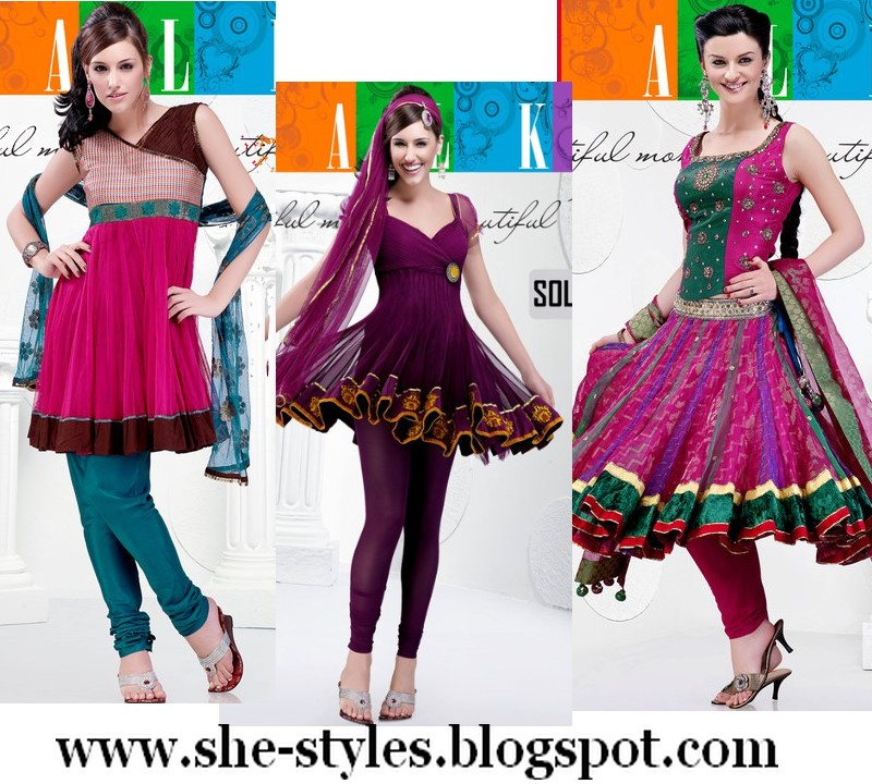 Easy Hairstyle For Salwar Suit : Exclusive designer short anarkali salwar kameez collection 2012