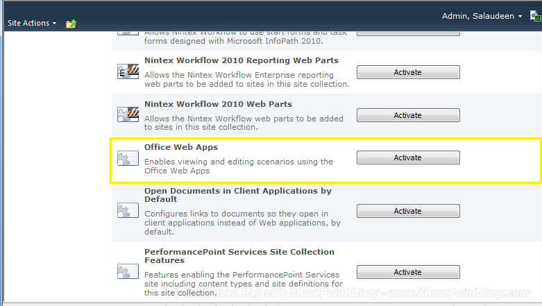 sharepoint office web apps activate