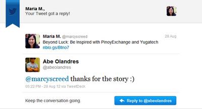 Abe Olandres Sends a Tweet @marcyscreed
