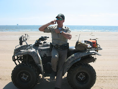 Powell patrols the Bolivar Peninsula following Hurricane Ike.