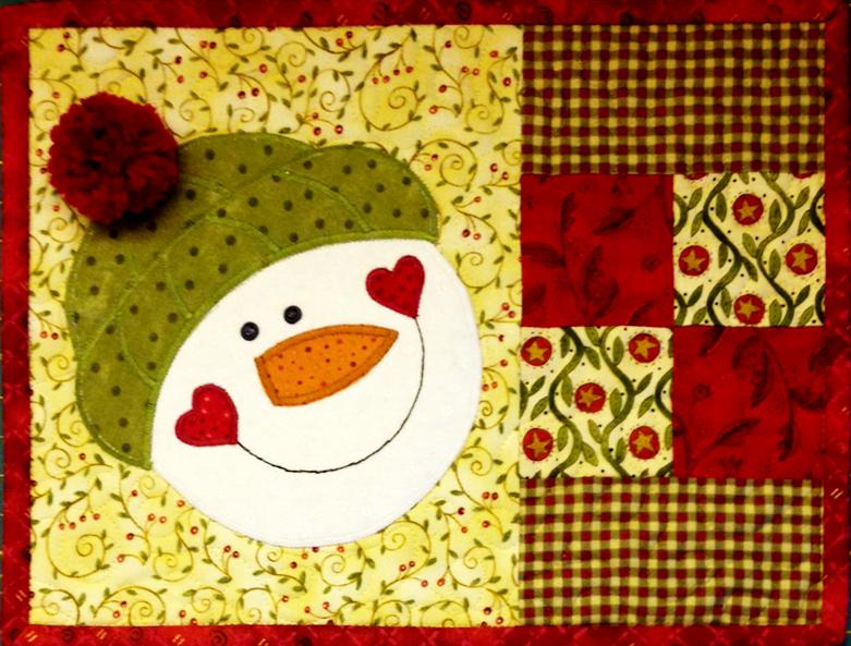 www.deniseclason.com © snowman mug rug