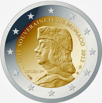 2 Euro Monaco 2012, 500th Anniversary Foundation of Monaco's Sovereignty by Lucien I Grimaldi