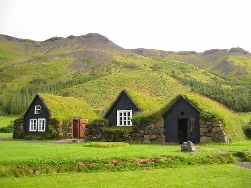 mon jardin fleuri des maisons vertes avec toit en herbes. Black Bedroom Furniture Sets. Home Design Ideas