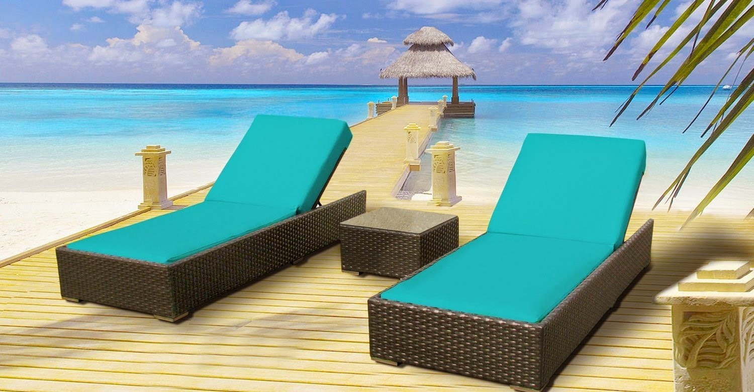 Luxxella Outdoor Patio Wicker Furniture 3 Pc Chaise Lounge Set