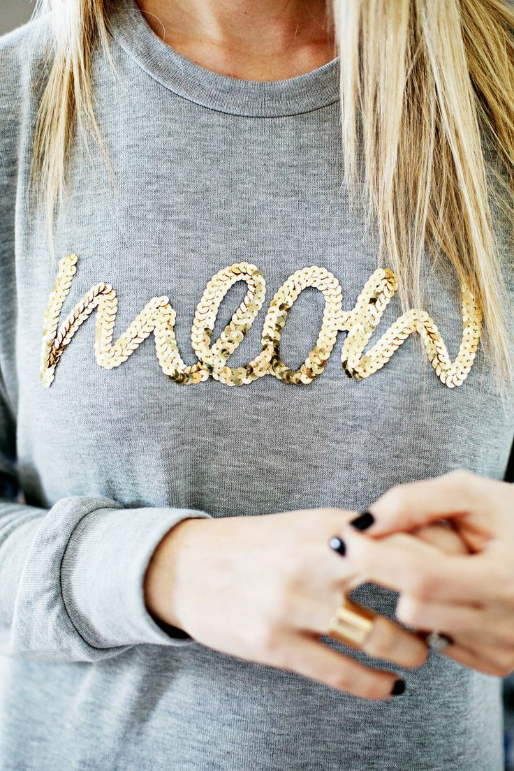 DIY Sequin Word Sweater