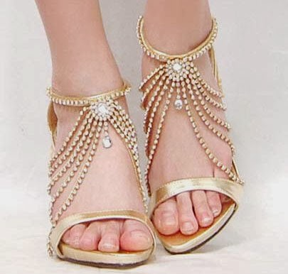 Golden Strings beautiful bridal footwear