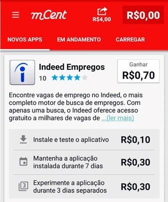 mCent paga a cada instalação e teste de apps no celular