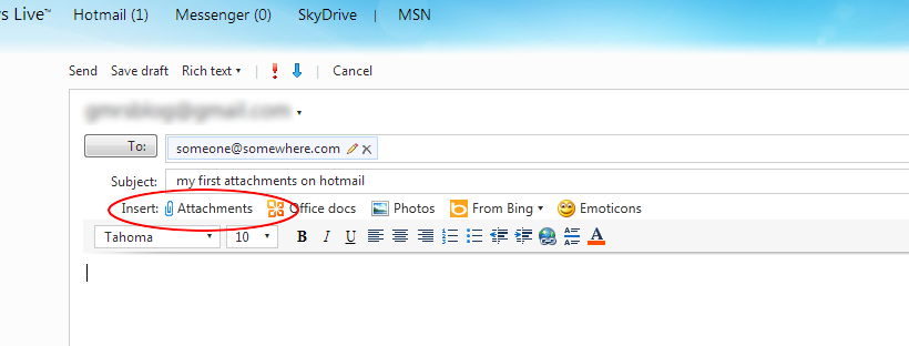 hotmail attachments