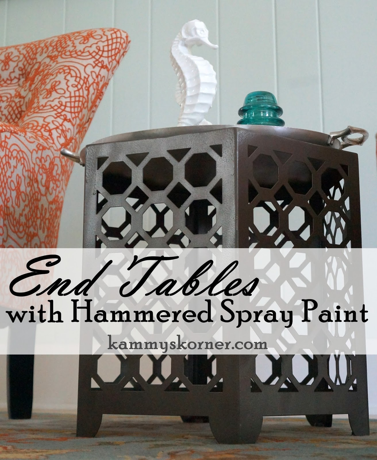 Hammered Spray Paint On Metal End Tables