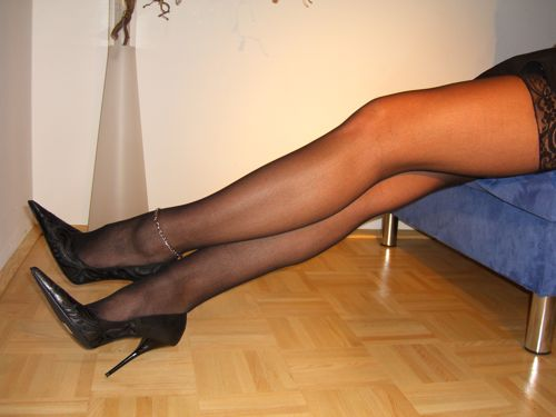 5 inch high stilettos, nylons and an anklet