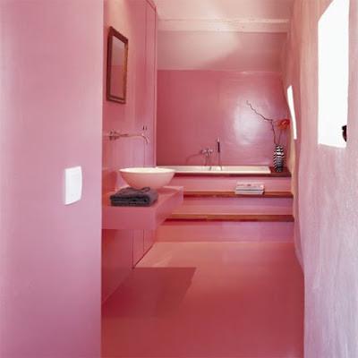 Idea de Cuarto de Baño de color rosa de piso a techo