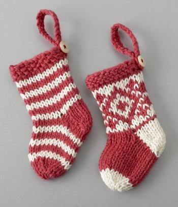 gorgeous little striped and fair isle patterned christmas stockings