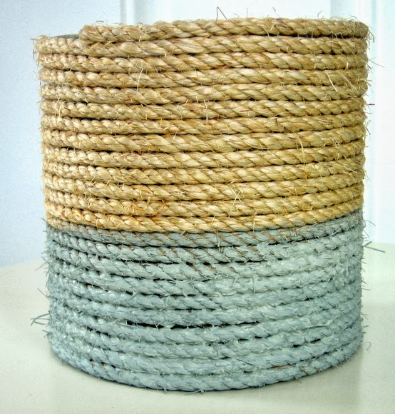 paint the lower half of the rope with the paint and let dry