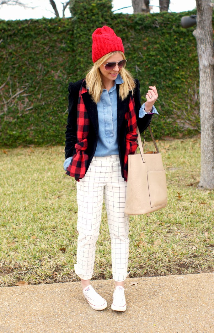 Ways to style a buffalo plaid outfit idea