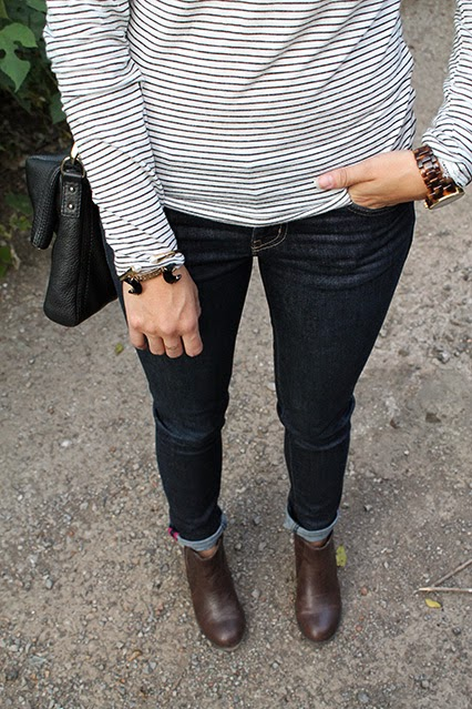 fall fashion, fall style, fall fashion 2014, long sleeve striped shirt, kate spade jeans, dv booties, brown booties, kate spade crossbody, black cobble hill crossbody, fall red lips, kendra scott bracelet, marc jacobs sunglasses, nashville blogger, nashville stylist