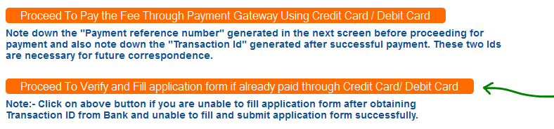 proceed to verify online payment mode for eamcet