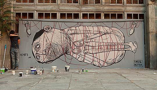 Arte urbano que envejece, antes y después de NemO's