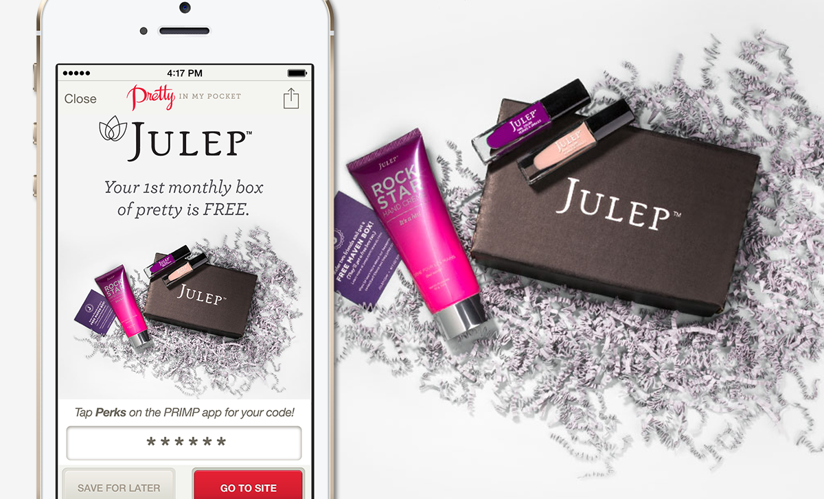 Receive your firest monthly Julep Maven box FREE with your PRIMP Perk code