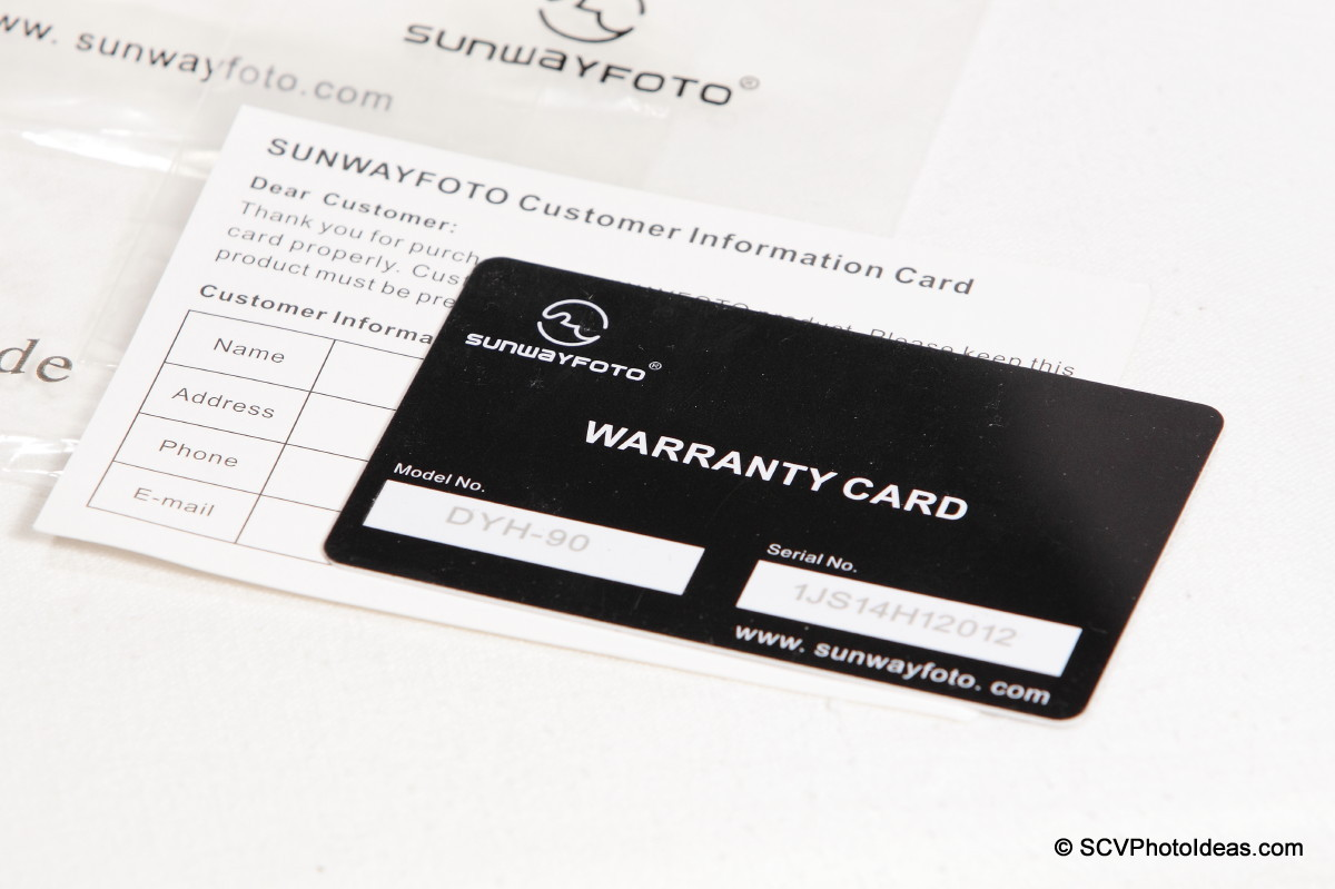 Sunwayfoto DYH-90 warranty & customer cards