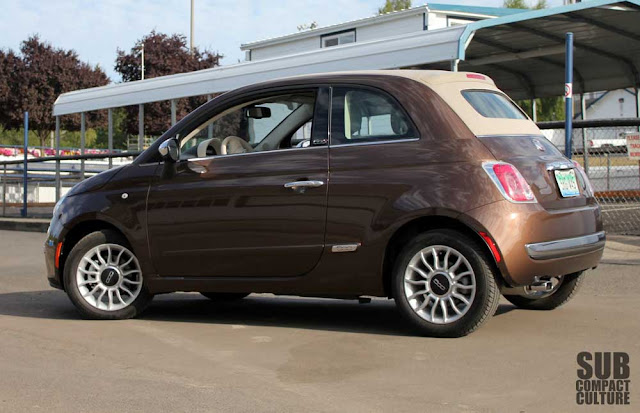 The Fiat 500c Lounge with the top up