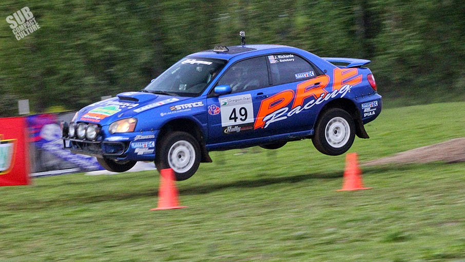 WRX jumping at Oregon Trail Rally