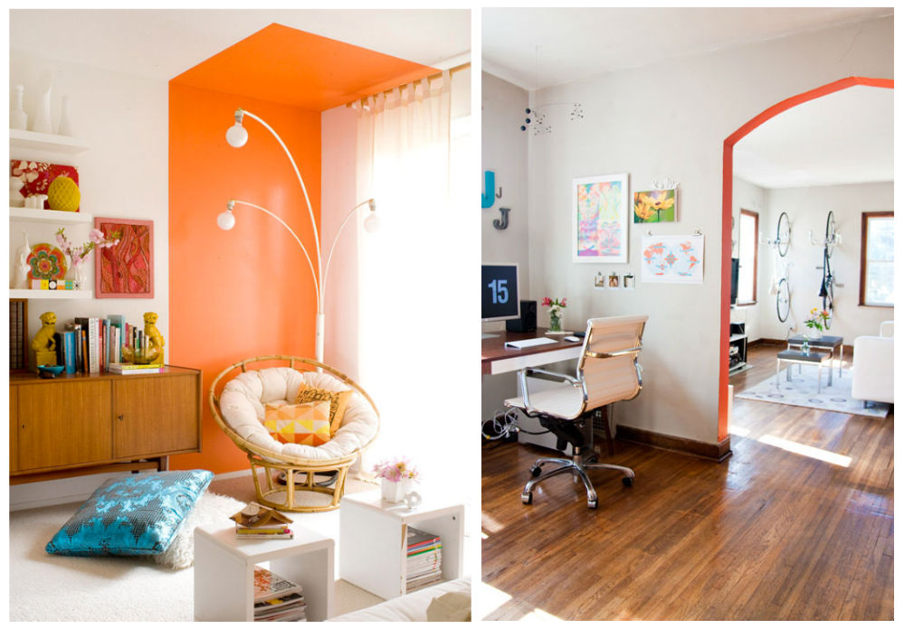interior design, paint, pittura, wall, muro, orange, arancione