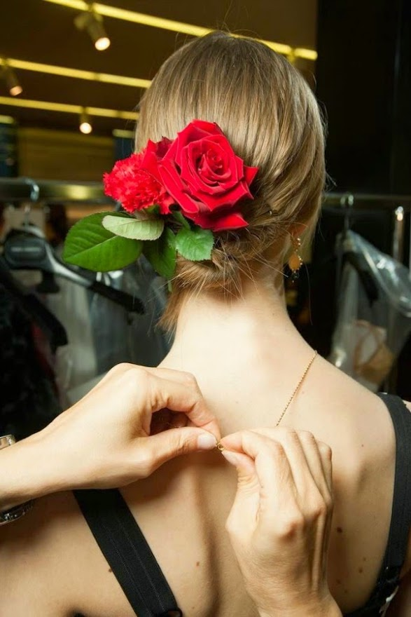 red roses in hair