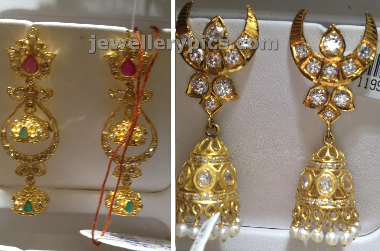 chandbali jhumka mix design earrings made with gold