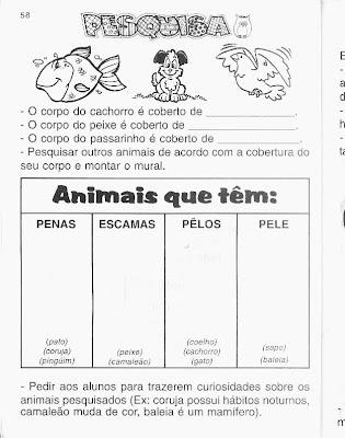 Atividades sobre Animais - Ciências - Mundinho da Criança