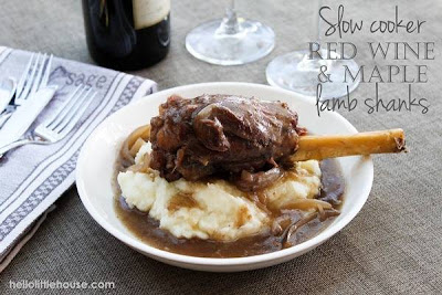 Slow Cooker Red Wine and Maple Lamb Shanks from Hello Little House via SlowCookerFromScratch.com