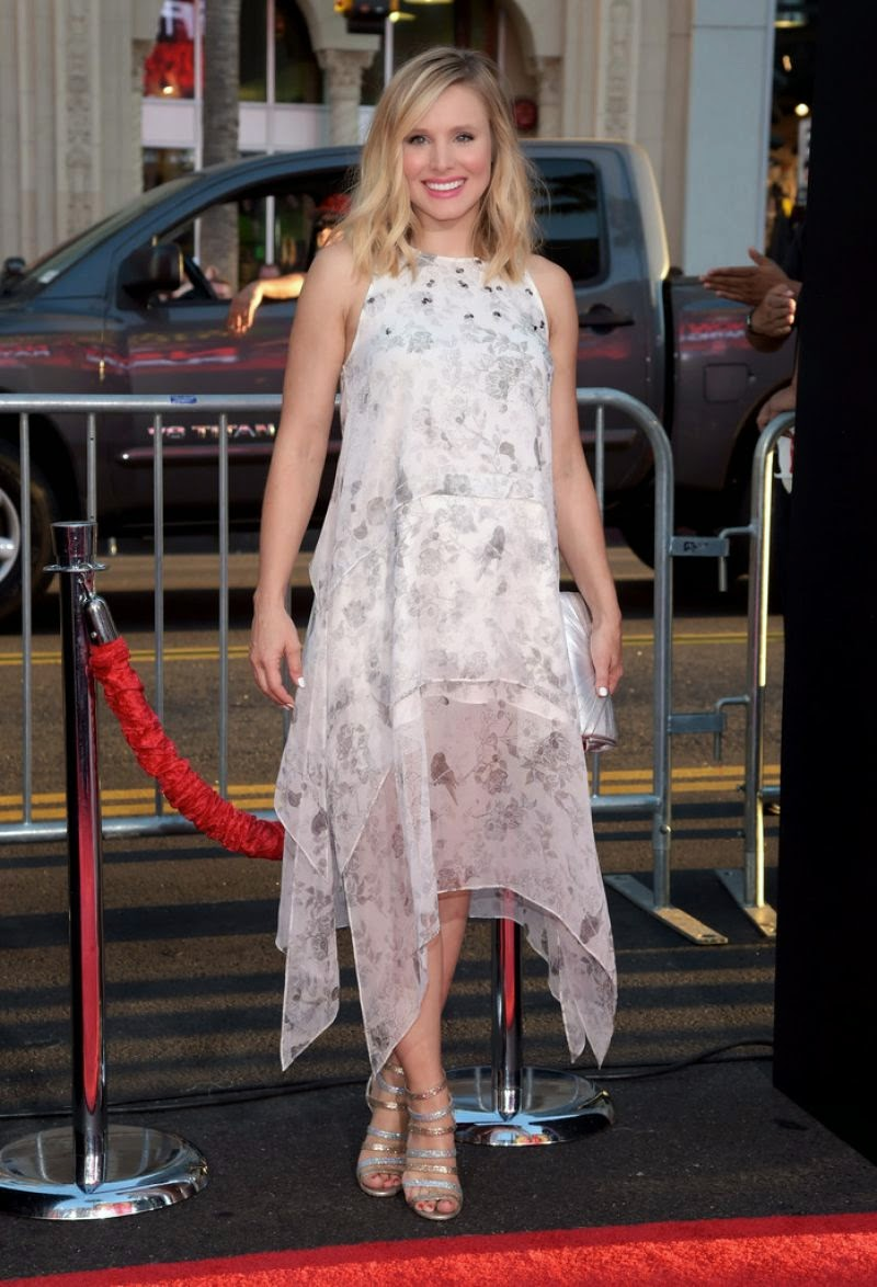 Kristen Bell flatters baby bump in an Elizabeth and James dress at the 'This Is Where I Leave You' Hollywood premiere
