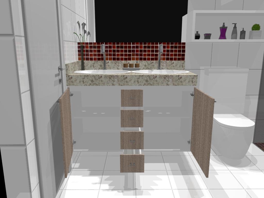 Armário Planejado para Banheiro Pequeno  Bella Kaza  Móveis Planejados em F -> Banheiro Planejado Pia