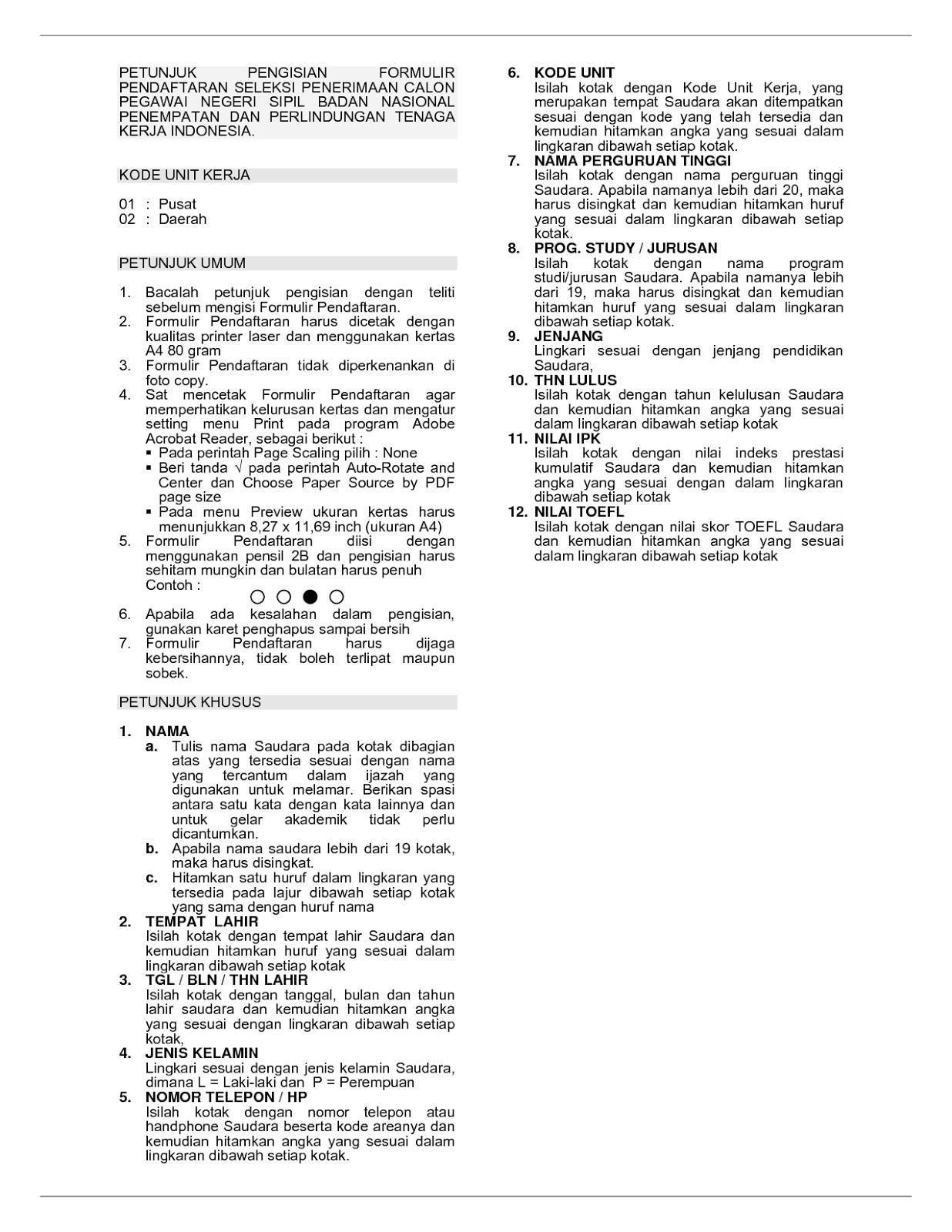 Petunjuk Pengisian Pendaftaran Cpns Kiosnetmbo