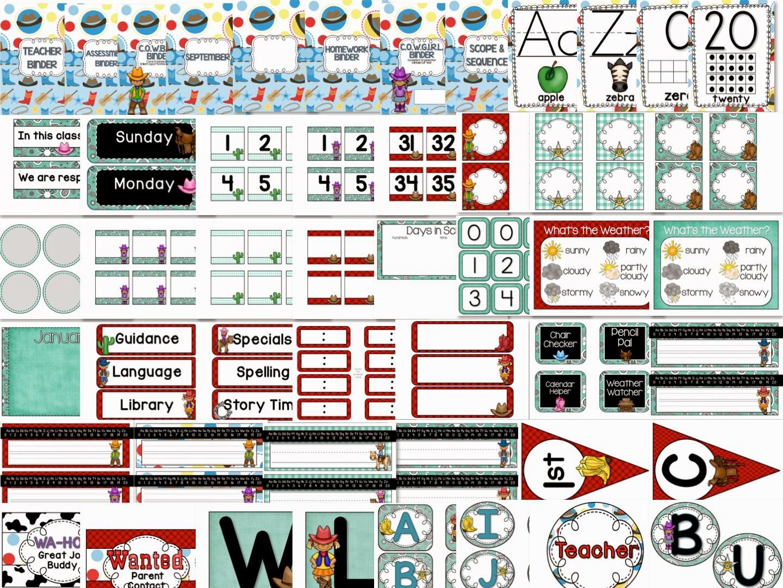 http://www.teacherspayteachers.com/Product/Cowboys-and-Cowgirls-Western-Theme-Classroom-Set-with-Editables-1269039