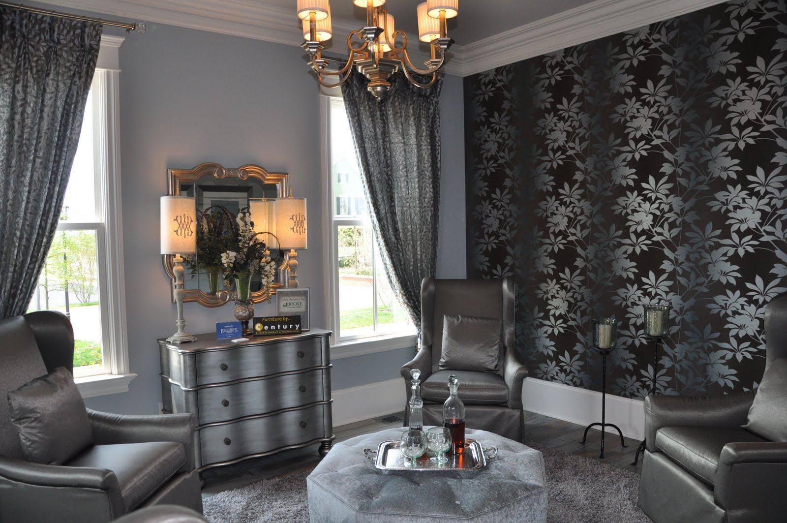 Metallic bedroom furniture bedroom furniture high resolution for Grey silver wallpaper living room