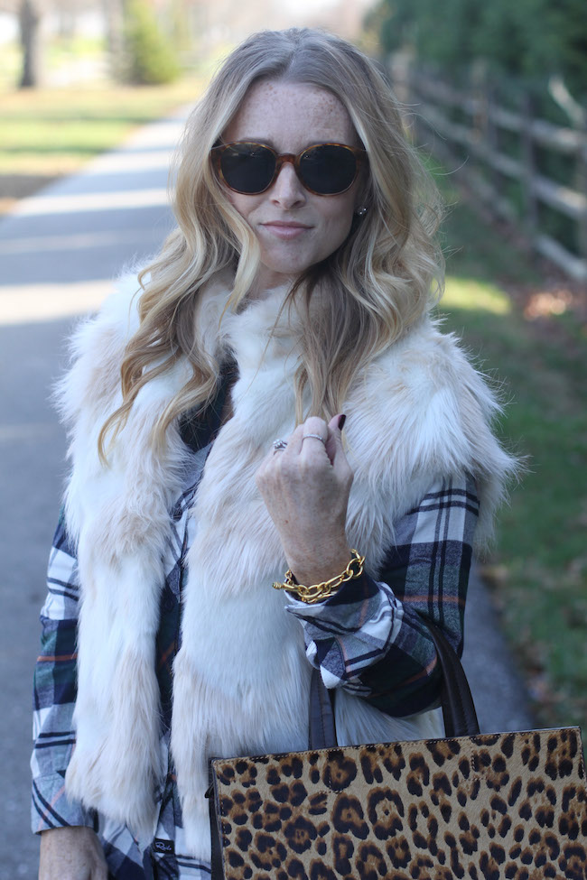 elizabeth and james sunglasses, faux fur vest, rails plaid shirt, julie vos bracelet