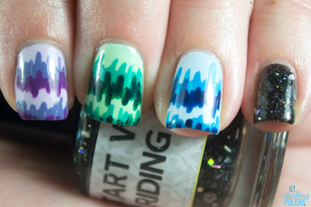 nails, nail art, nail polish, stripes, purple, green, blue, lynbdesigns start with the riding crop, black, indie polish, hey darling polish!