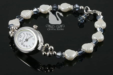 Patricia's Custom Clam Shell Crystal Beaded Watch (W013)