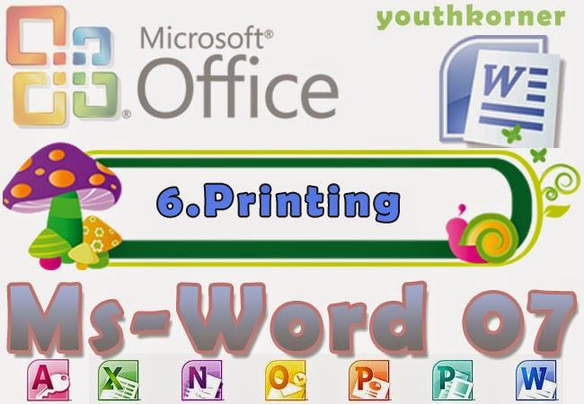 Printing in word 2007
