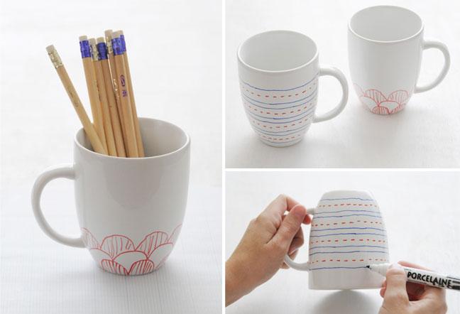 Whim Whimsy DIY Painted Mugs - Diy creative painted mug