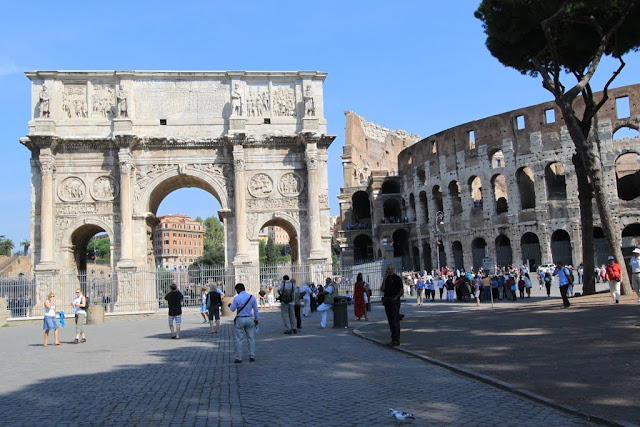 Arch of Constantine (Arco di Costantino) is situated outside the Roman Colosseum in Rome, Italy