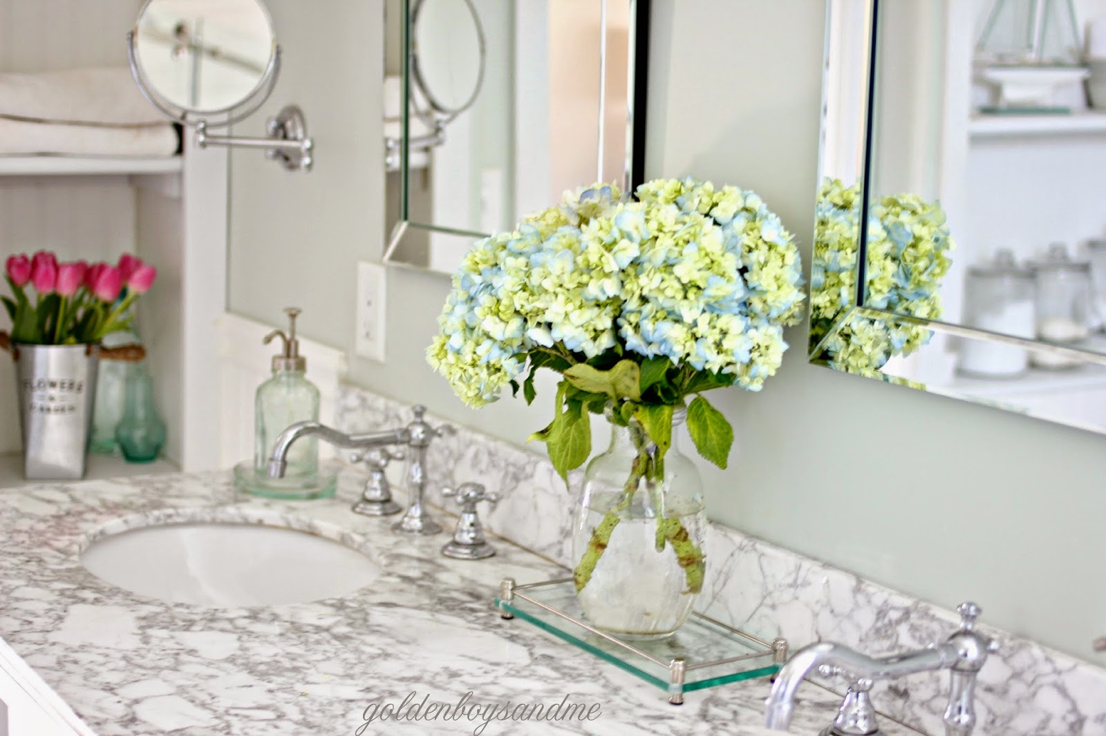 Hydrangeas and carrera marble counter in DIY master bathroom-www.goldenboysandme.com